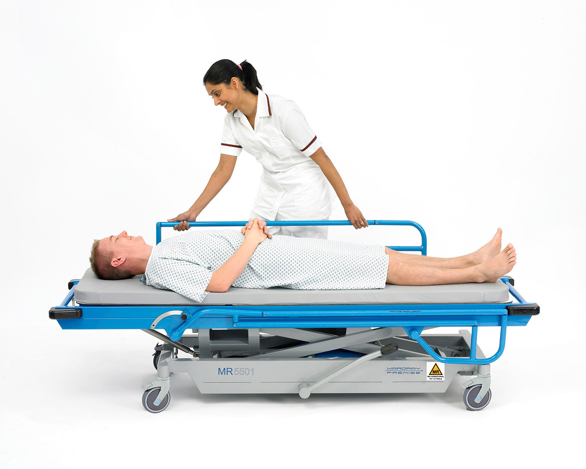 Picture 6 of Adjustable Height Patient Trolley