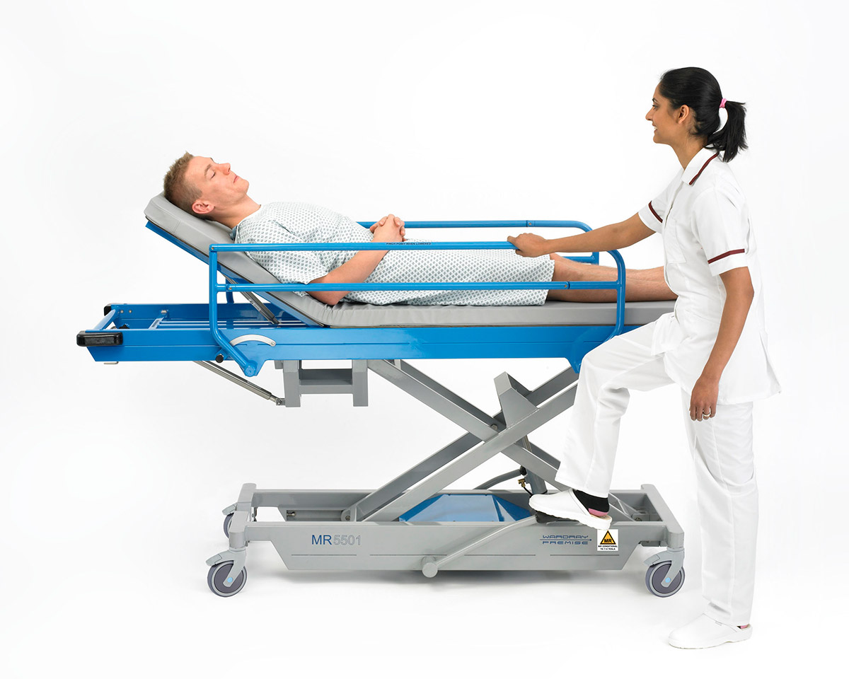 Picture 4 of Adjustable Height Patient Trolley