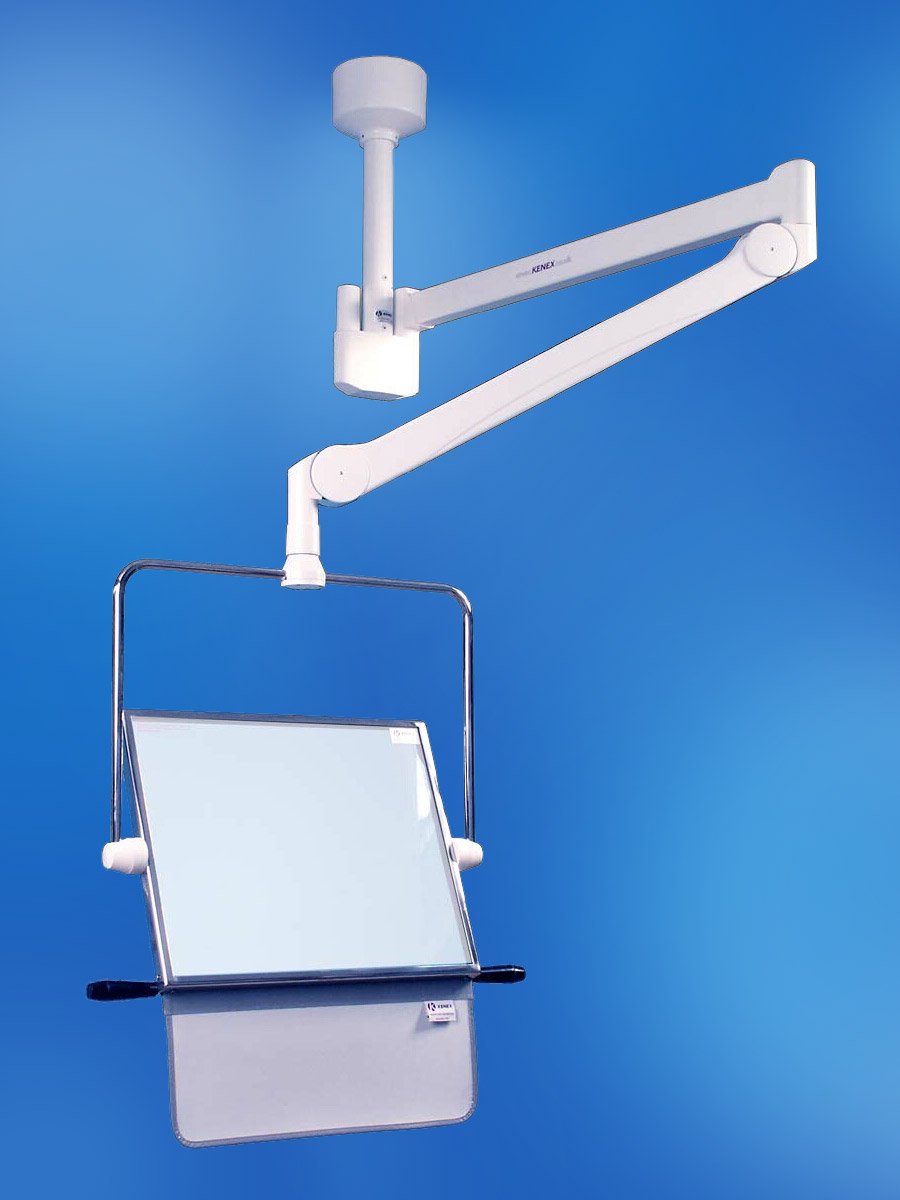 Picture 1 of Ceiling Track Mounted Lead Glass Overhead Suspension Shield 400mm x 500mm with Curtain